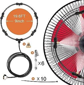 HONYOU Fan Misting Cooling Kit for DIY Outdoor Mist Fan 20 Ft (6M)