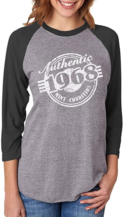 d941ac94f Tstars 50th Birthday Gift 1968 Mint Condition 3/4 Women Sleeve Baseball  Jersey Shirt Small