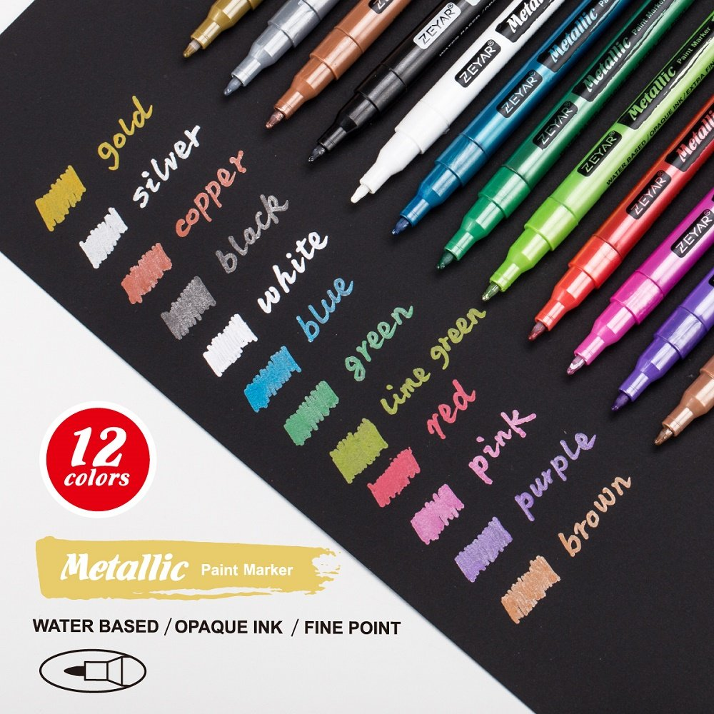 ZEYAR Metallic Colors Paint Pen, Water Based, Fine Point, Nylon Tip, 12 Colors, Odorless, Acid Free, Opaque Ink, Environmental Friendly, Professional Paint Marker Manufacturer