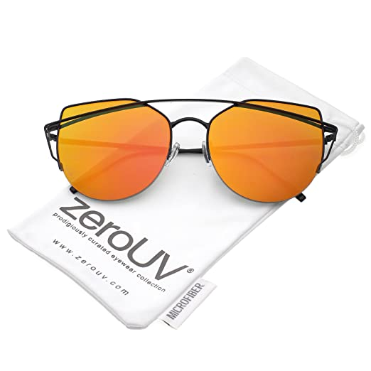 425d725897 zeroUV - Women s Semi Rimless Metal Brow Bar Round Mirrored Flat Lens Cat  Eye Sunglasses (