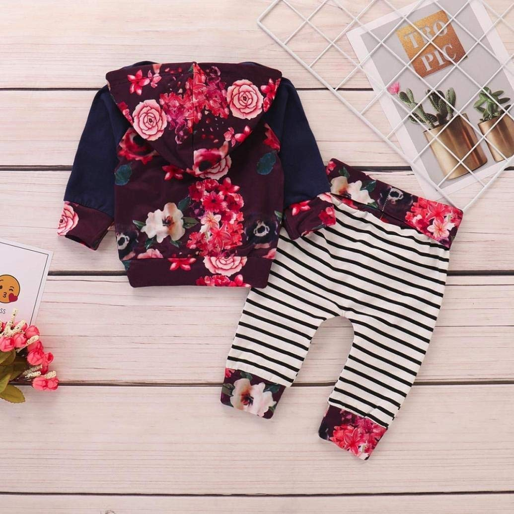 Baby Boys Girls Hooded Clothing Tops+Prin Striped Pants Clothes Sets