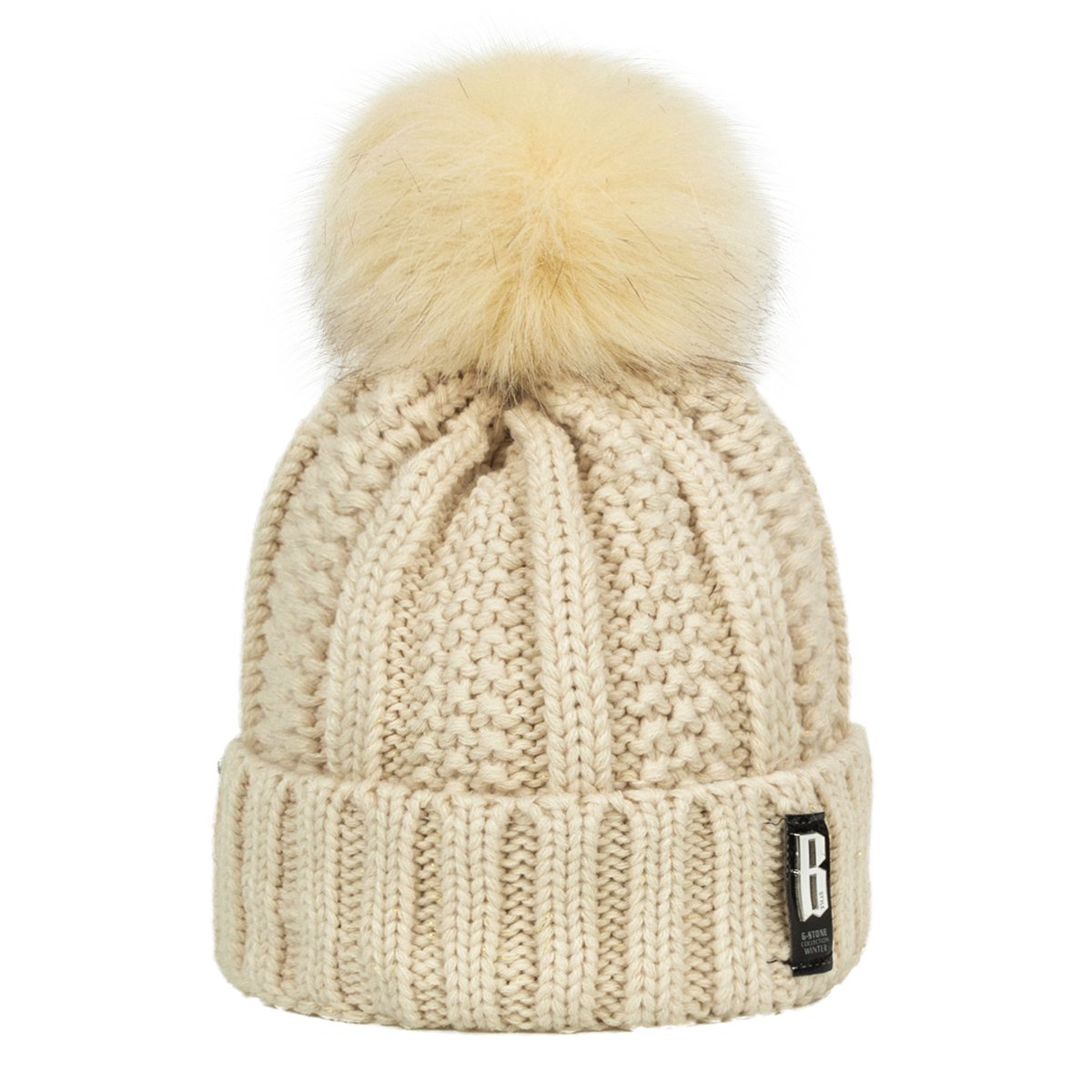 ADUO Thick Pom Beanie Hat, Women\'s Winter Fleece Lined Cable Knitted Pom Beanie Hat (Beige)
