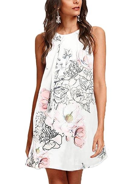 93eb5835341 YOINS Women s Summer Mini Dresses Floral Print Sleeveless Crew Neck  Sundress White XS