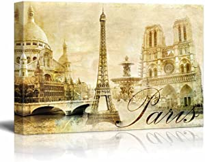 """wall26 - Canvas Prints Wall Art - Amazing Paris - Vintage Clipart (Eiffel) 