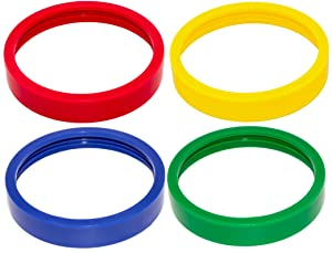 Blendin 4 Pack Colored Lip Rings, Fits Original Magic Bullet Blender Juicer 250W MB1001