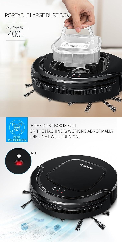Robot aspirador inteligente con mando a distancia 0,4 l Depósito prolongada Potente Aspiradora Adecuado para agua Buzón para el pelo de animal Hard ...