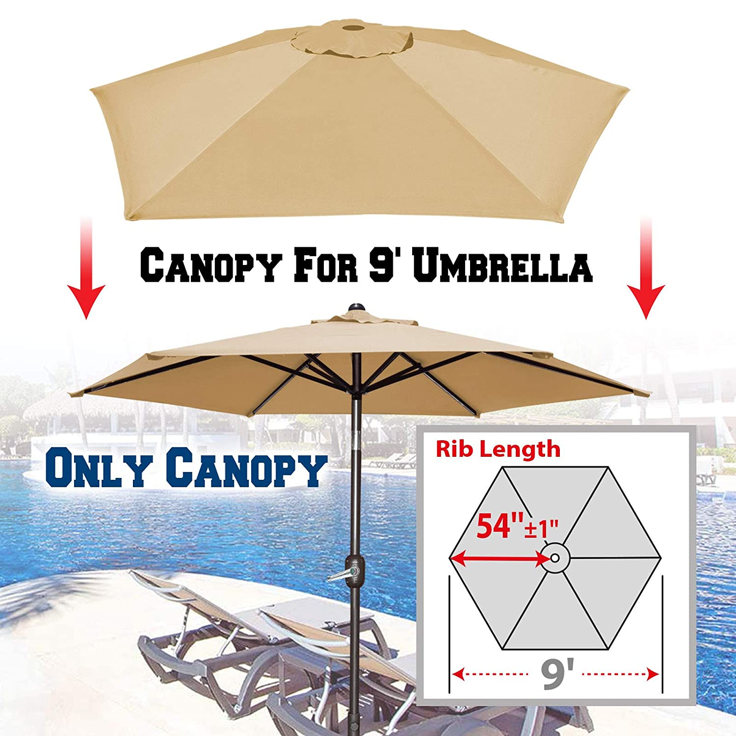 Strong Camel Replacement Patio Umbrella Canopy Cover for 9ft 6 Ribs Umbrella Canopy ONLY Beige