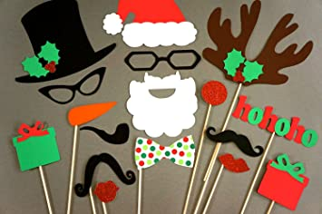 christmas photo booth props 17 piece set glitter photobooth props santa and friends