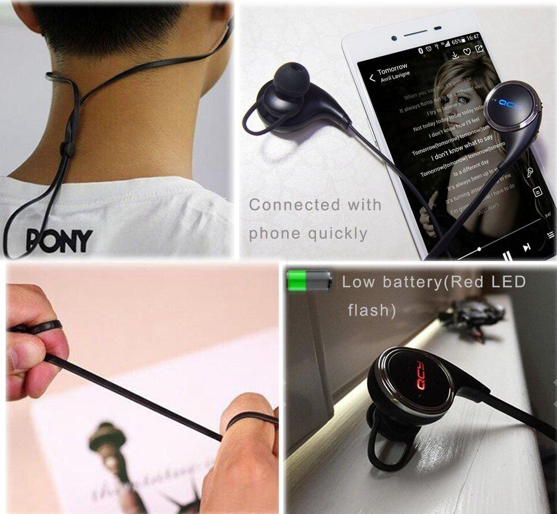QCY QY8 Bluetooth earphonesv4.1 inalámbrico deportes auriculares con un micrófono 7 horas de actividades de fitness: Amazon.es: Electrónica