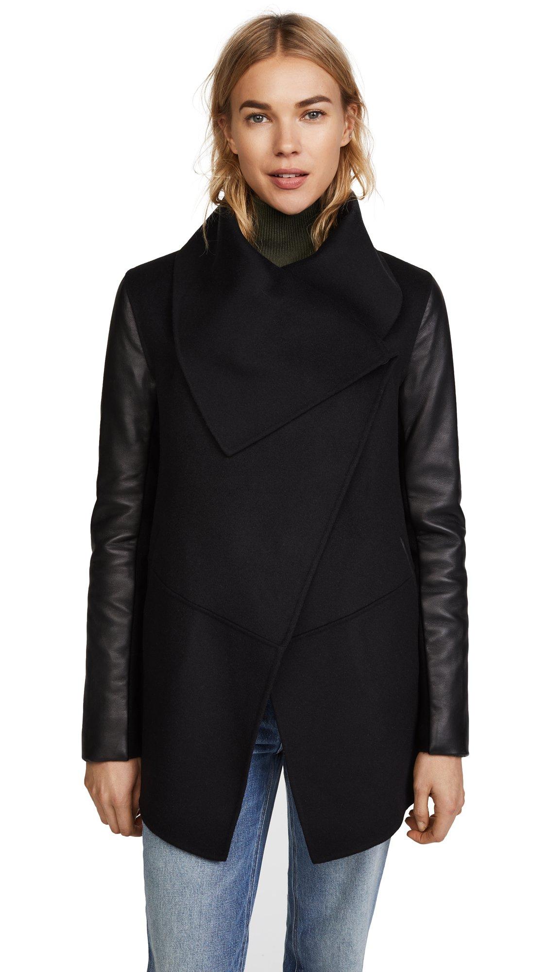 Mackage Women's Vane Wool Jacket With Leather Sleeves, Black, L