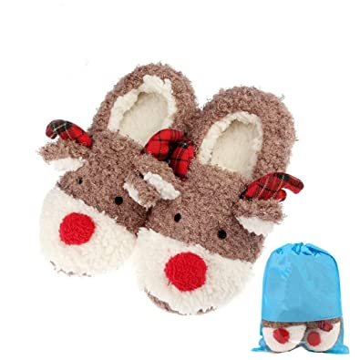 Slippers for Women Cute Reindeer Fluffy House Indoor Winter Slippers Shoes Non Skid Home Slippers