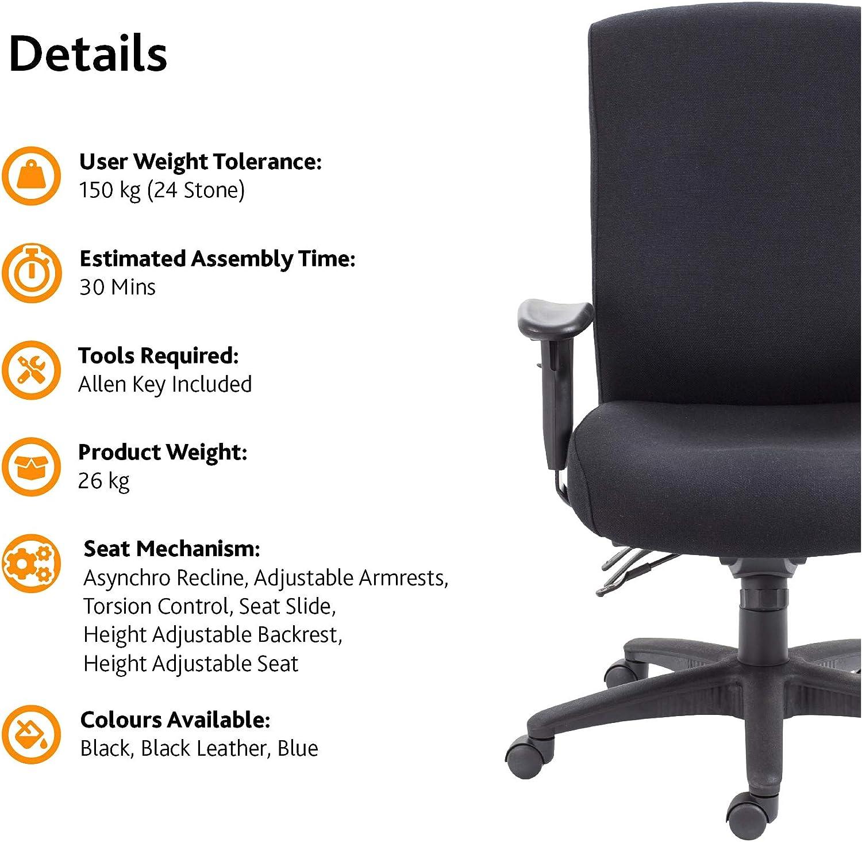 Office Hippo - Silla de escritorio, respaldo alto, uso 24 horas, capacidad de carga de 150 kg, reposabrazos 2D, mecanismo asíncrono, respaldo de trinquete, tela, color azul Azul