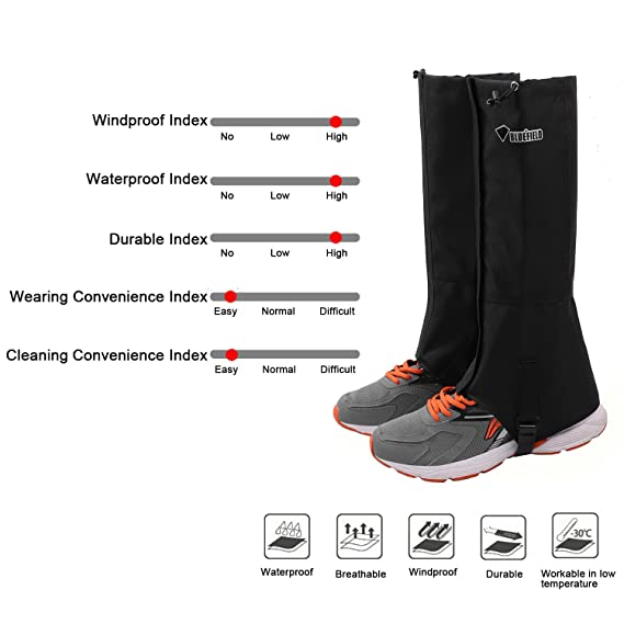 2837c1d38 TAGVO Snow Gaiter, Waterproof Windproof Warm Shoes Cover, Durable Easy  Cleaning Hiking Gator, Easy Open and Off, Fit Hunting Climbing Snowboarding  ...