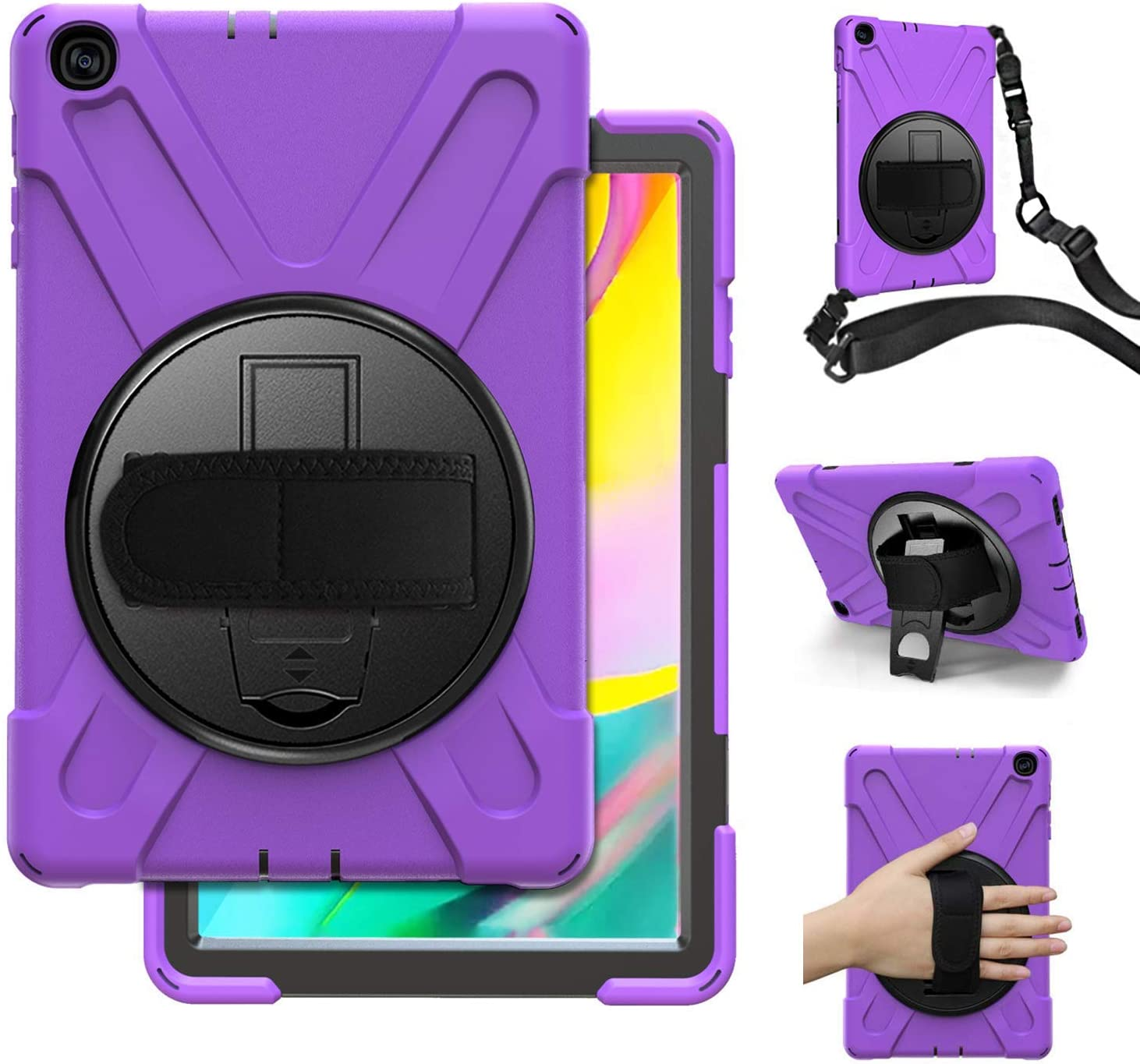 Samsung Galaxy Tab A 10.1 Case 2019 With Stand,Herize Heavy Duty Rugged Shockproof Protective Case With Handle Strap,Shoulder Strap For Galaxy Tab A 10.1 2019,T510/T515 Tablet For Kids,Students,Purple