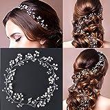 50cm Bijoux Cheveux Perles Couronne Fleur Cristal Serre Tête Guirlande Bandeau Headband pour Demoiselle d'Honneur Accessoire Mariage Femme Fête Anniversaire