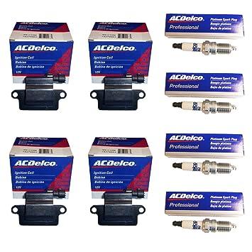 (4) ACDelco México bobinas de encendido 19279903 + (4) ACDelco 41 - 962 Bujías para LS2, LS4, ls7 cuadrado Bobina 1st diseño: Amazon.es: Coche y moto