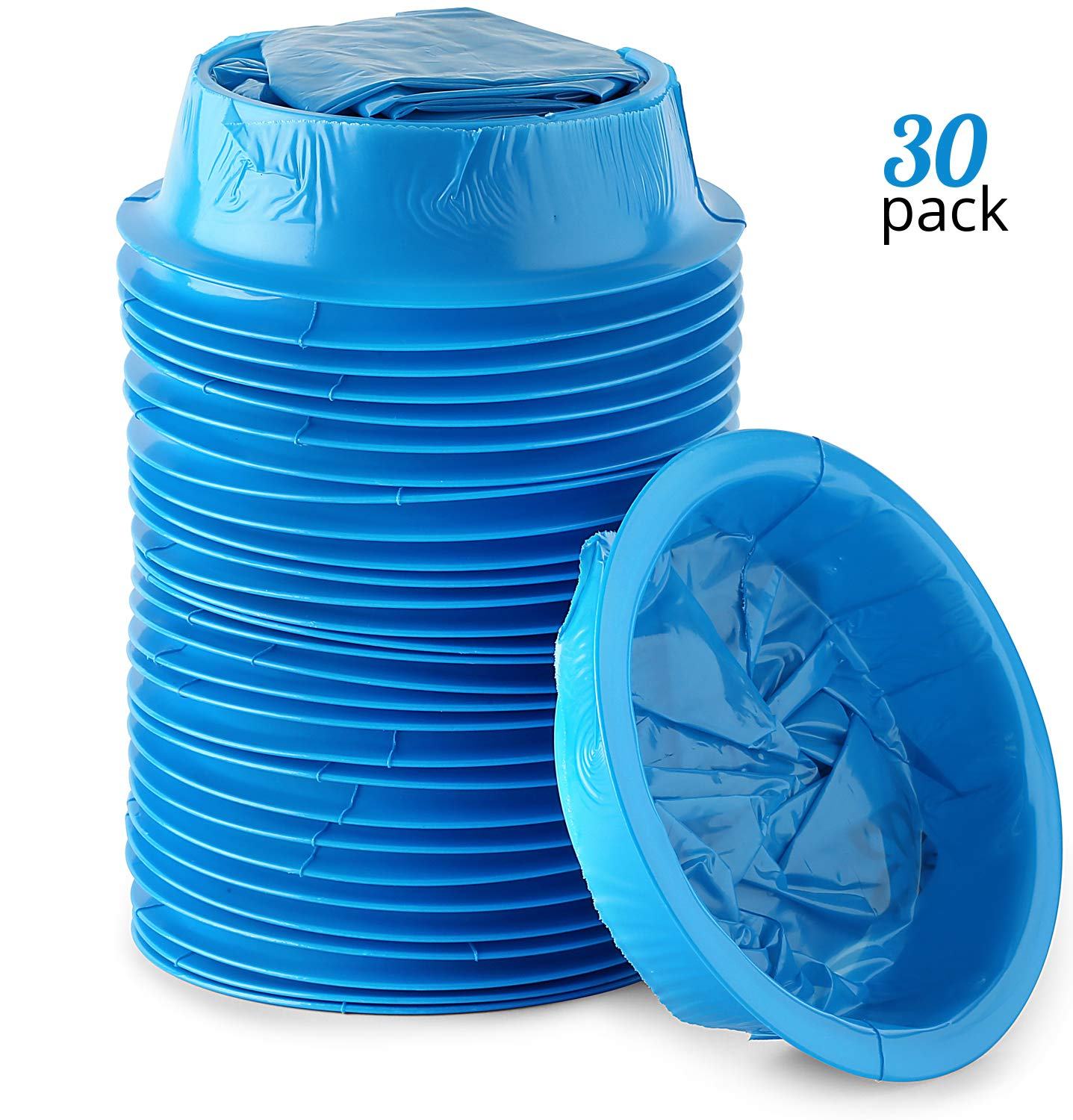 Premium Emesis Vomit Bags 30-Pack   Disposable Blue Leakproof Vomiting Bag Set for Car, Motion, Sea & Air Sickness   Convenient Ring Closure System  Perfect for Pregnant Women& Sick Children