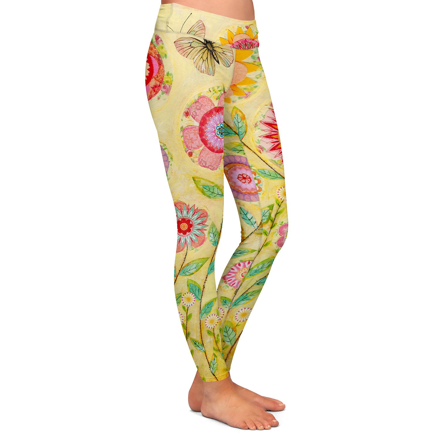 Athletic Yoga Leggings from DiaNoche Designs by Sascalia July Flowers Butterfly