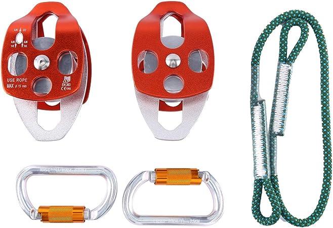 YaeKoo 2 Piezas Polea de reenvío Mobile Pulley 32 KN - y 2 ...