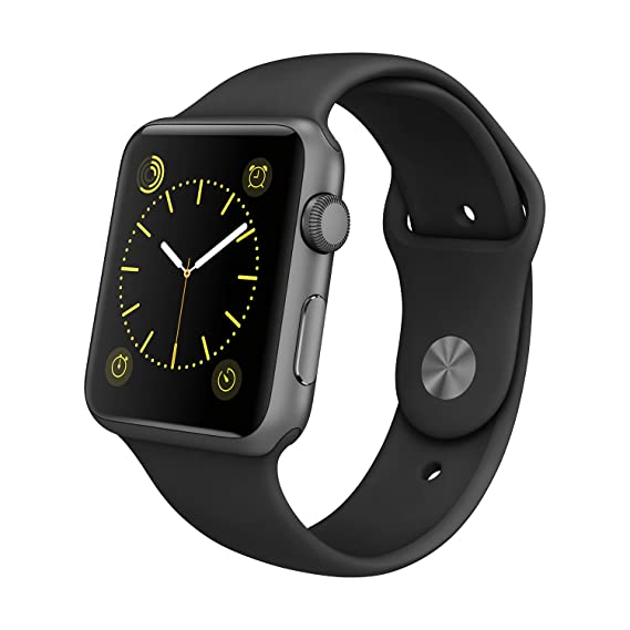 best sneakers 8cb53 bde45 Apple Watch Sport 42mm with Space Gray Aluminum Case and Black Sport Band -  MJ3T2LLA (Renewed)