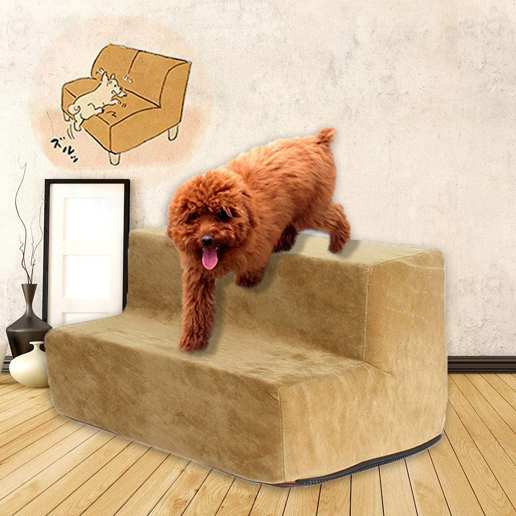 TOPBIGGER Pet Stairs Dog Stairs 2 Steps Velvet Holster Bed Ladder for Dogs Cats Stairs Car Dog Ladder