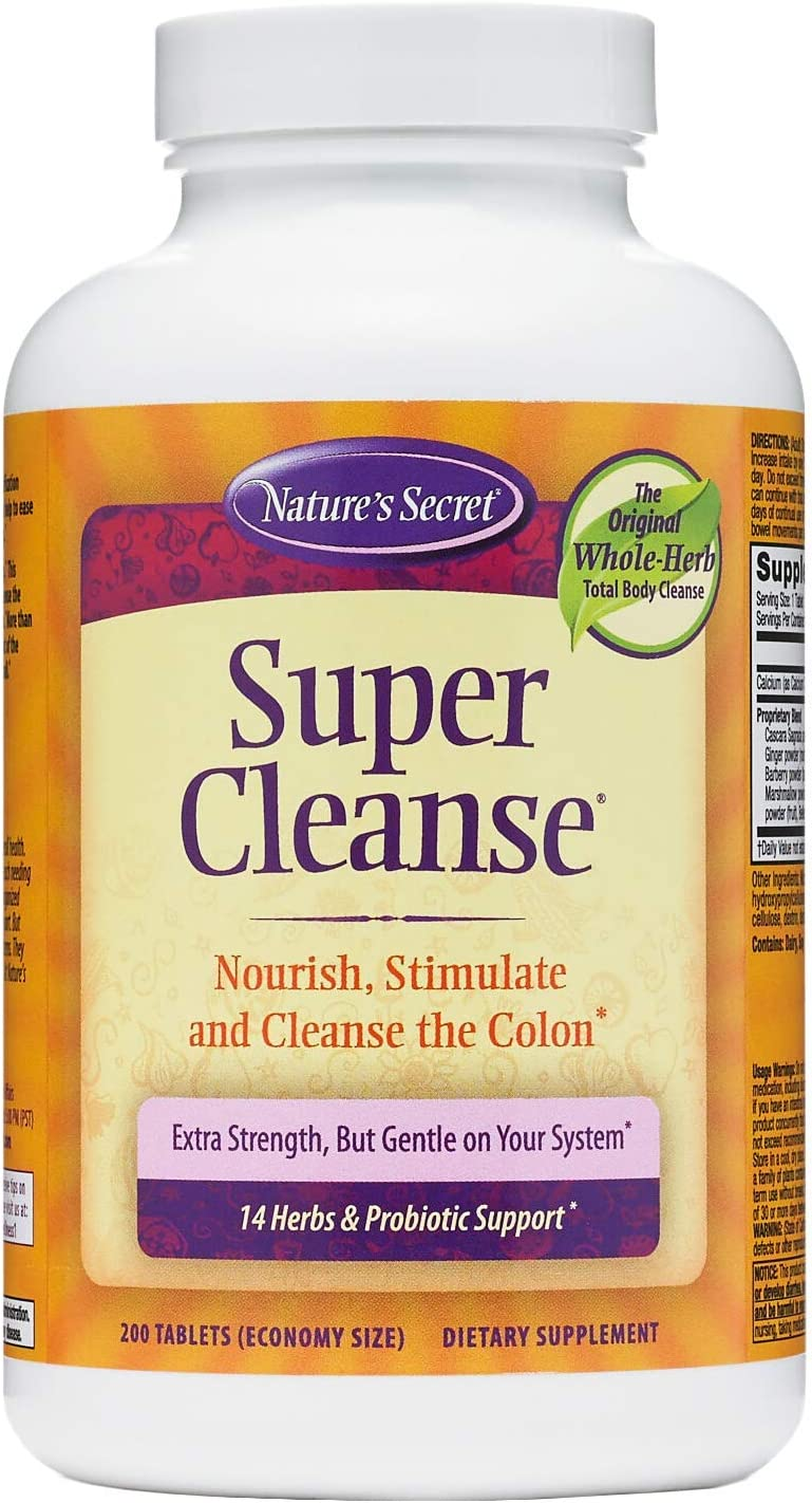 Nature's Secret Super Cleanse Extra Strength Toxin Detox & Gentle Elimination Total Body Cleanse, Digestive & Colon Health Support - Stimulating Blend of 14 Herbs with Probiotics - 200 Tablets