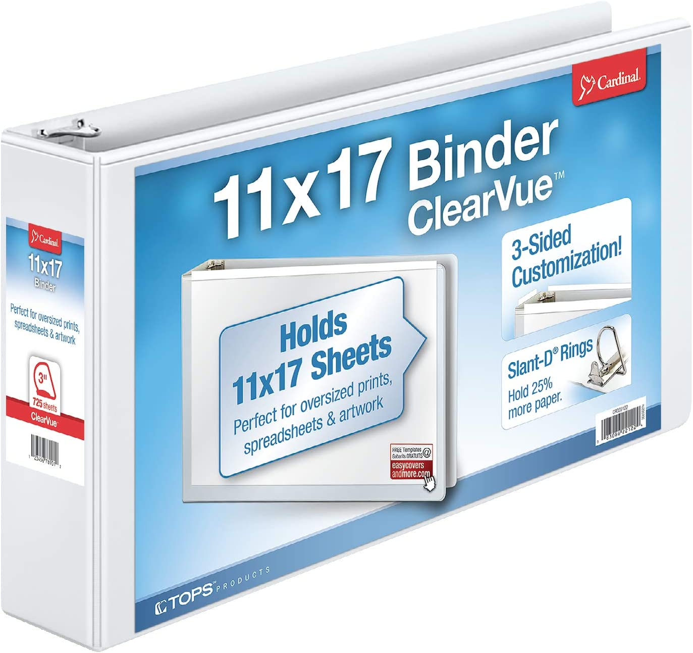 Cardinal 11-Inch x 17-Inch ClearVue Slant-D Ring Binder, 3-Inch, White (22142V3) : Office D Ring And Heavy Duty Binders : Office Products