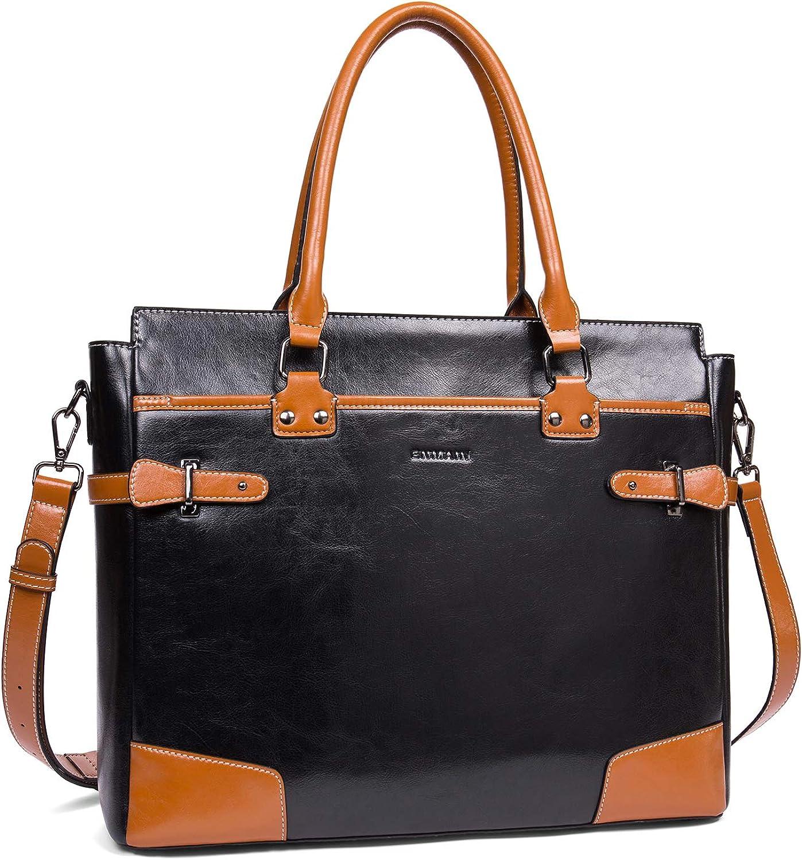 Leather Briefcase Messenger 15.6 Inch Laptop Satchel Bags for Women Business Shoulder Bag by Enmain