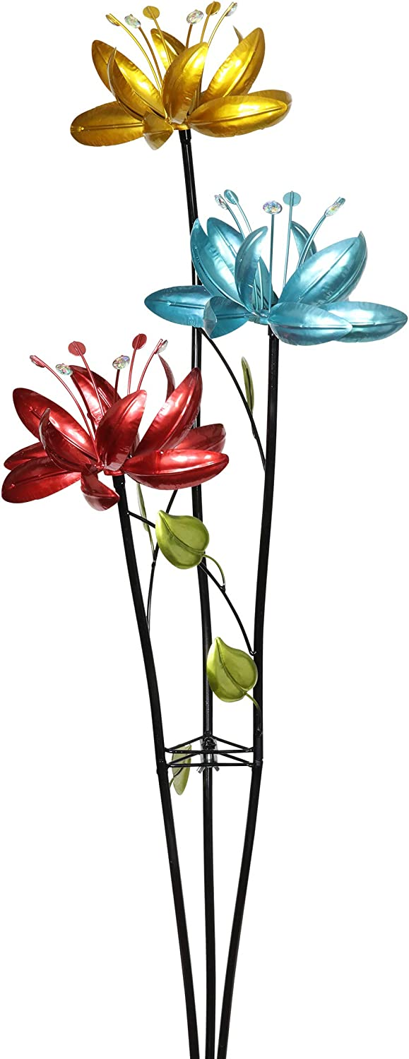Exhart Triple Lotus Flower Wind Spinners Garden Stake – 3 Metallic Flower Spinners in Colorful Yellow, Blue, and Red Metal Design Spin - Yard Art Décor, 17 by 53 Inches