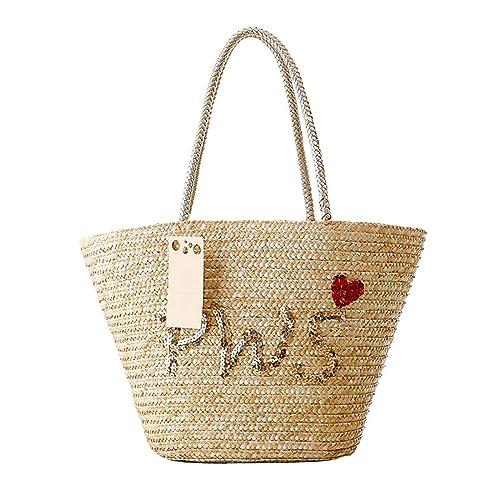 Luckywe Verano paja bolsos Top mango mochila Letra de lentejuelas naturaleza playa bolso bolsas A10 Multicolor1: Amazon.es: Zapatos y complementos