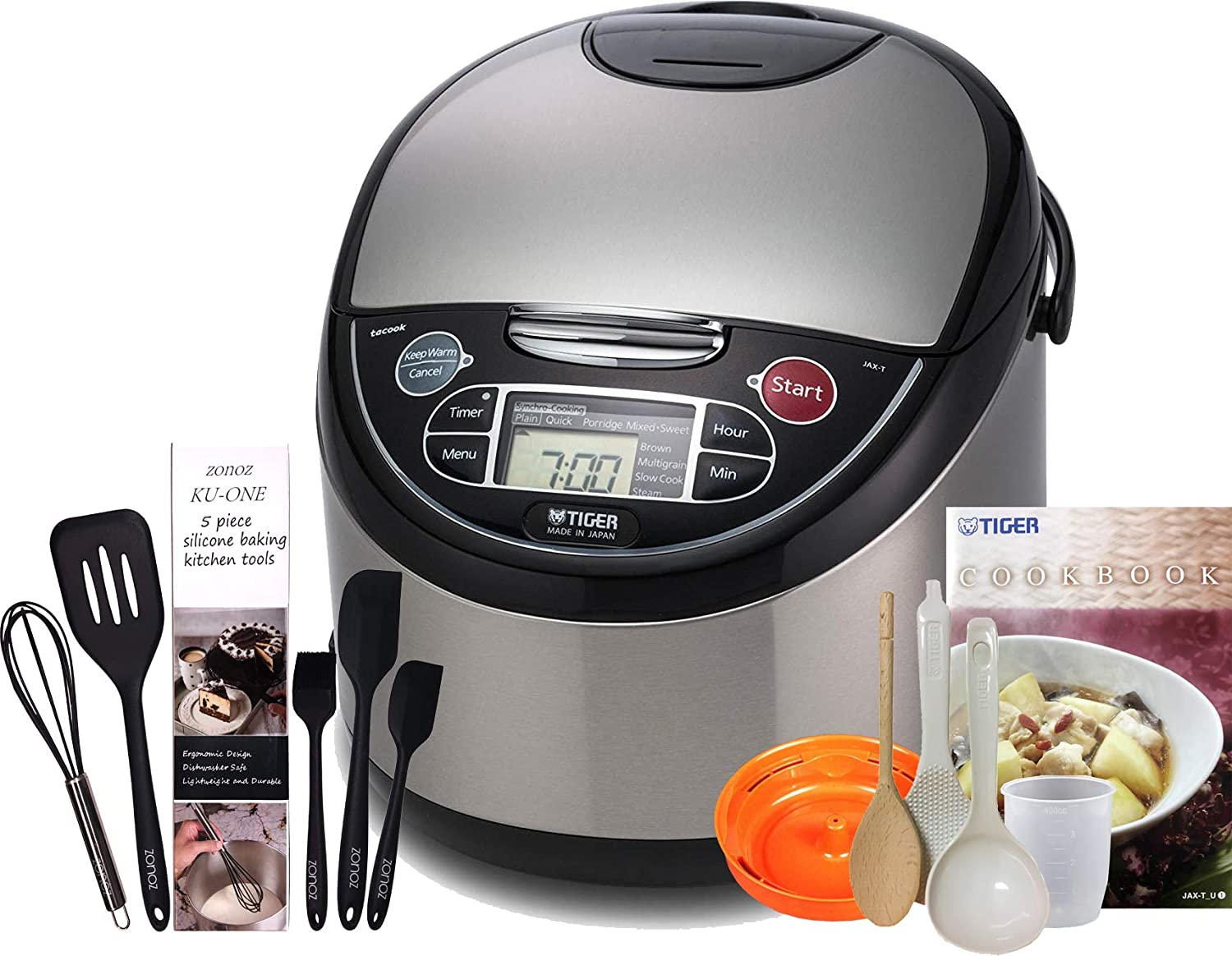 Tiger JAX-T18U-K 10 Cups Uncooked 20 Cups Cooked Micom Rice Cooker with Food Steamer Slow Cooker, Stainless Steel Black Zonoz 8-Inch Rice Paddle Wooden Stirring Spoon Bundle