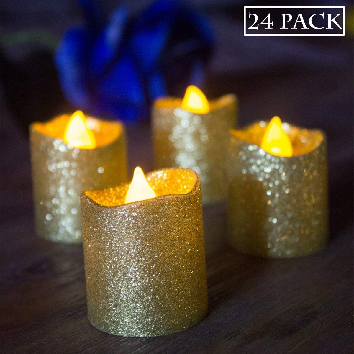 Gold Flameless Votive Candles, Battery Operated LED Tea Lights with Gold Glitter Flickering Bulb Light,Pack of 24,Small Electric Fake Tea Candle Realistic for Wedding, Table,Outdoor,Celebration