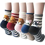 5 Pairs Womens Cute Dog Cat Fun Cartoon Cotton Casual Crew Funny Animal Socks
