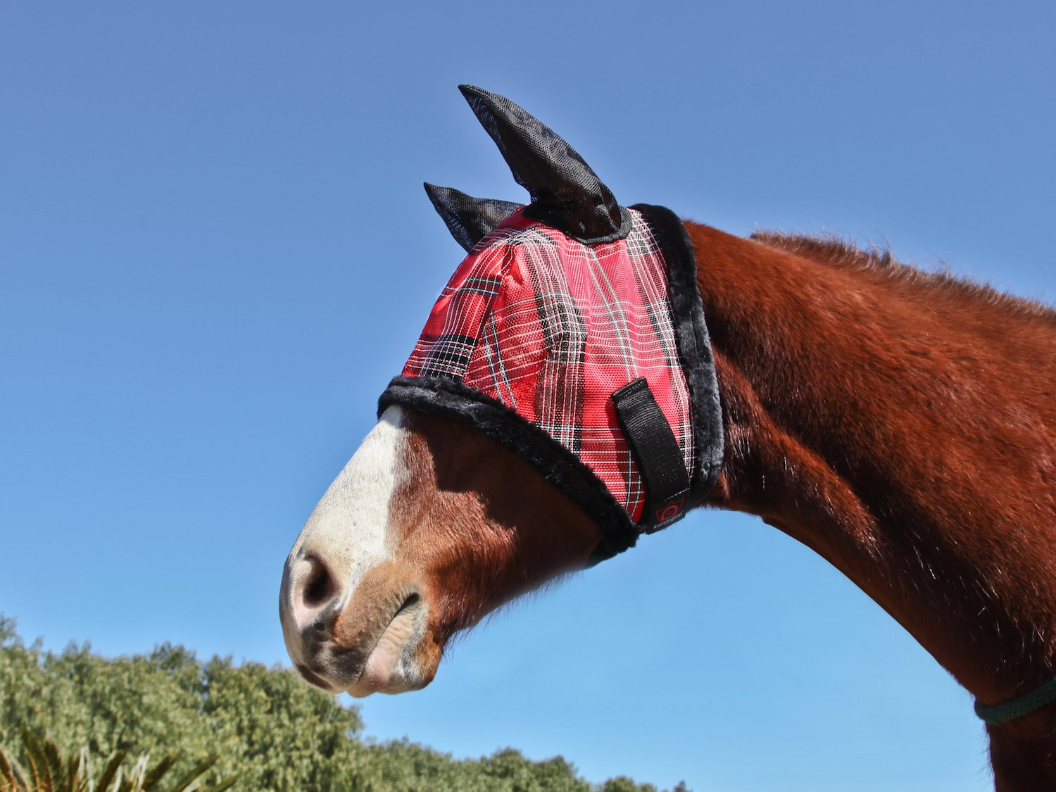Deluxe Red Plaid L Deluxe Red Plaid L Kensington KPP Fly Mask with Fleece Trim with Ears
