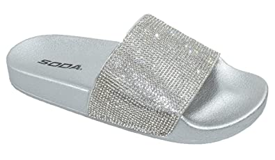 3746f2fe9bbbdc Image Unavailable. Image not available for. Color  Soda Shoes Women Flip  Flops Sandals Bling Rhinestone Crystal Slides Footbed Sylvia ...