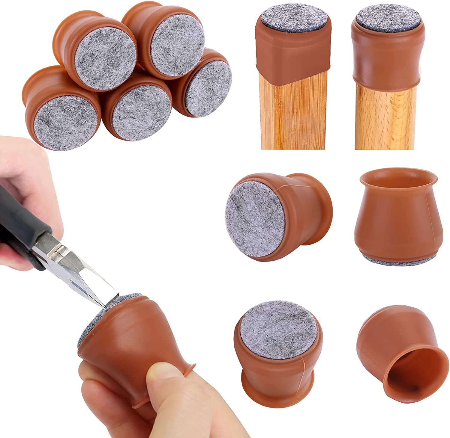 24 Pcs Silicone Chair Legs Caps - Furniture Foot Protectors - Free Moving Table Feet Covers - Stool Leg Floor Protectors Prevent Scratches and Noise (Medium, Coffee)