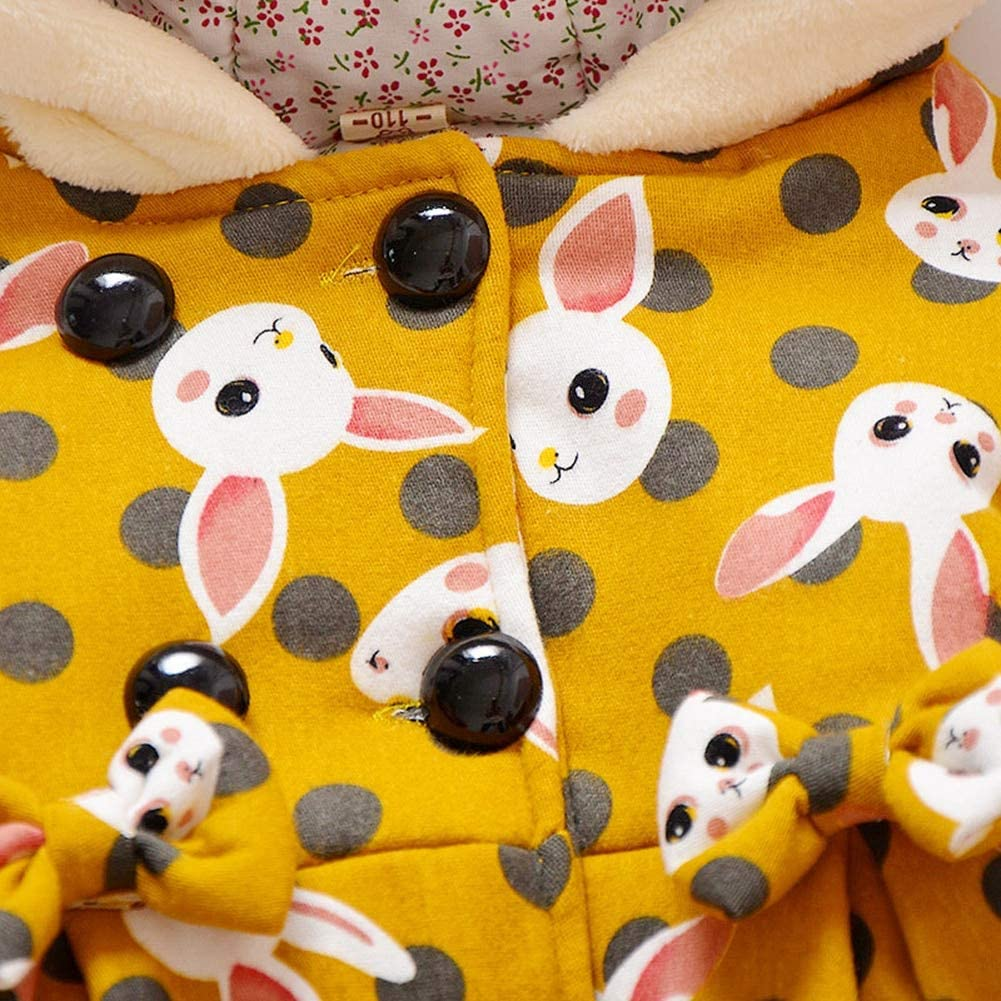 Baby Girl Hoodie Thicken Fleece Jacket Thick Winter Rabbit Details Coat Toddler Outerwear Coat