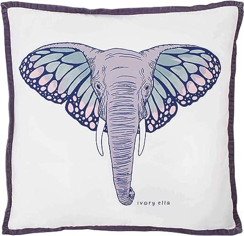 Ivory Ella Monarch Elephant Throw Pillow, 18 x 18, Purple