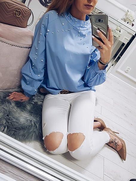 Davani Blusa Perlas Manga Larga Azul Unica