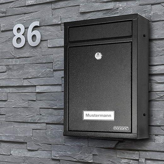 Alsino Briefkasten Postkasten Wandbriefkasten Stahlbriefkasten pulverbeschichtet 2 Schl/üsseln schwarz Befestigungsmaterial inklusive BRK-66011