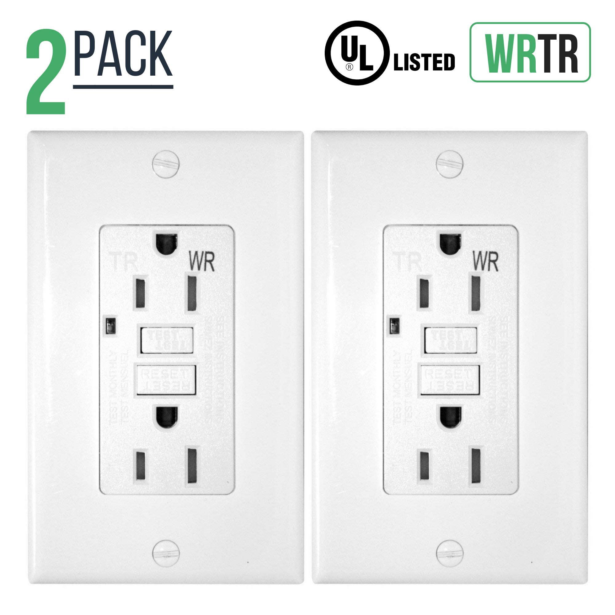 15 Amp GFCI GFI Receptacle, Duplex Wall outlet, Weather Resistant (WR), Tamper Proof (TR), Self-Testing, Use Indoor & Outdoor, White (2)