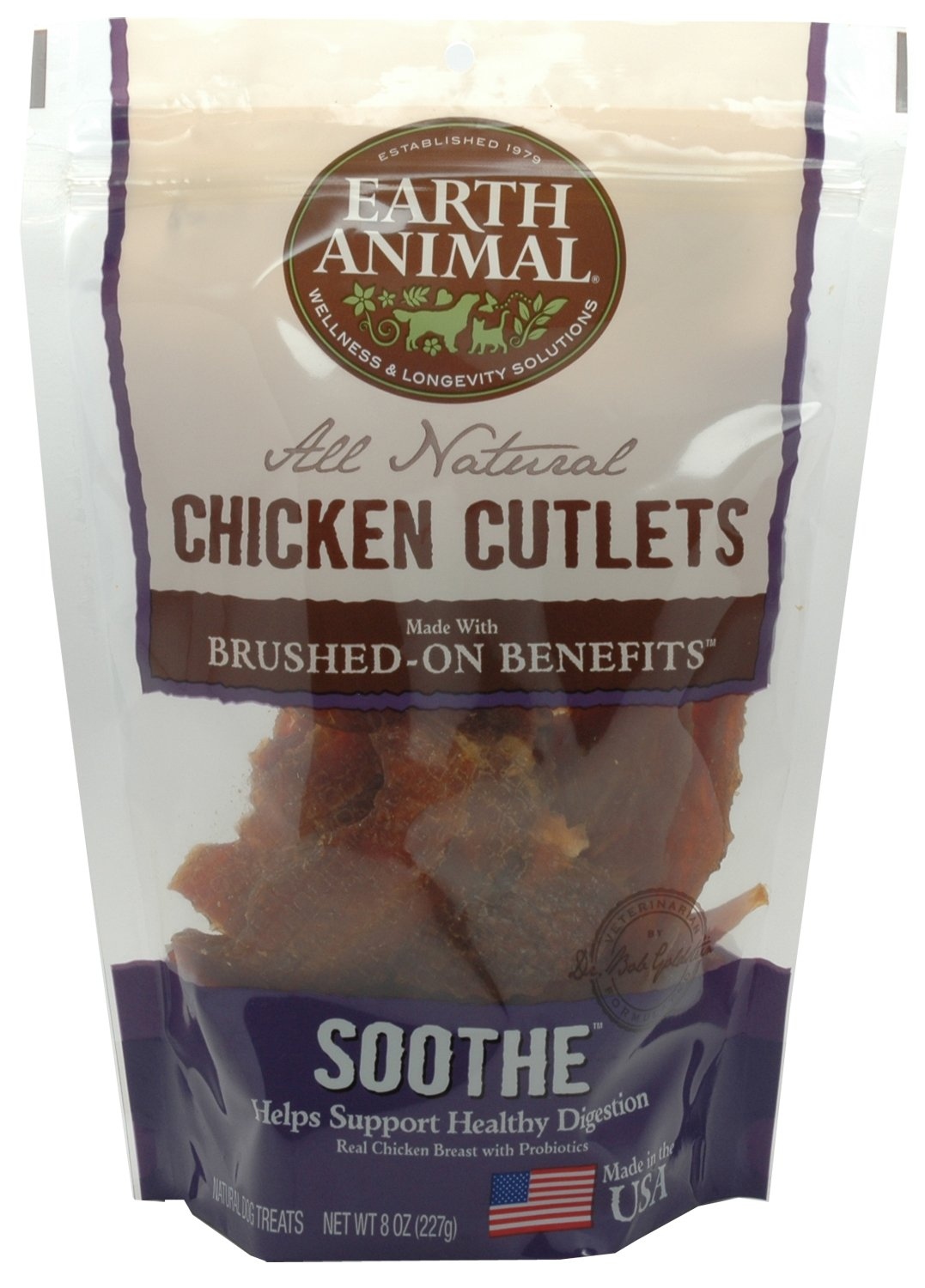 Earth Animal Brushed on Benefits All Natural Chicken Cutlets, Soothe Healthy Digestion, 8oz Bag