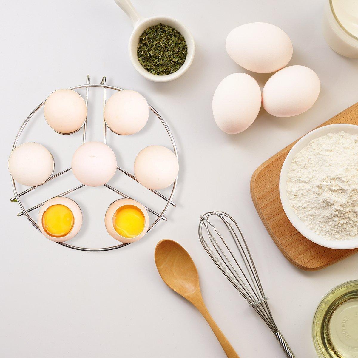 Egg Cooker Steamers Racks, Ertek instant pot accessories 2-pack Food steamerrack Fits 6,8 Quart Instant Pot or Pressure Cooker, Stainless Steel, Stackable