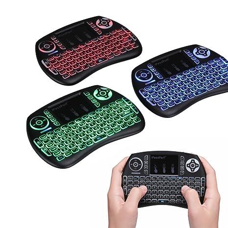 Mini Teclado Inalámbrico - Tres Retroiluminación Color Teclado Multi Touch Con Touchpad - Batería Recargable Adecuado