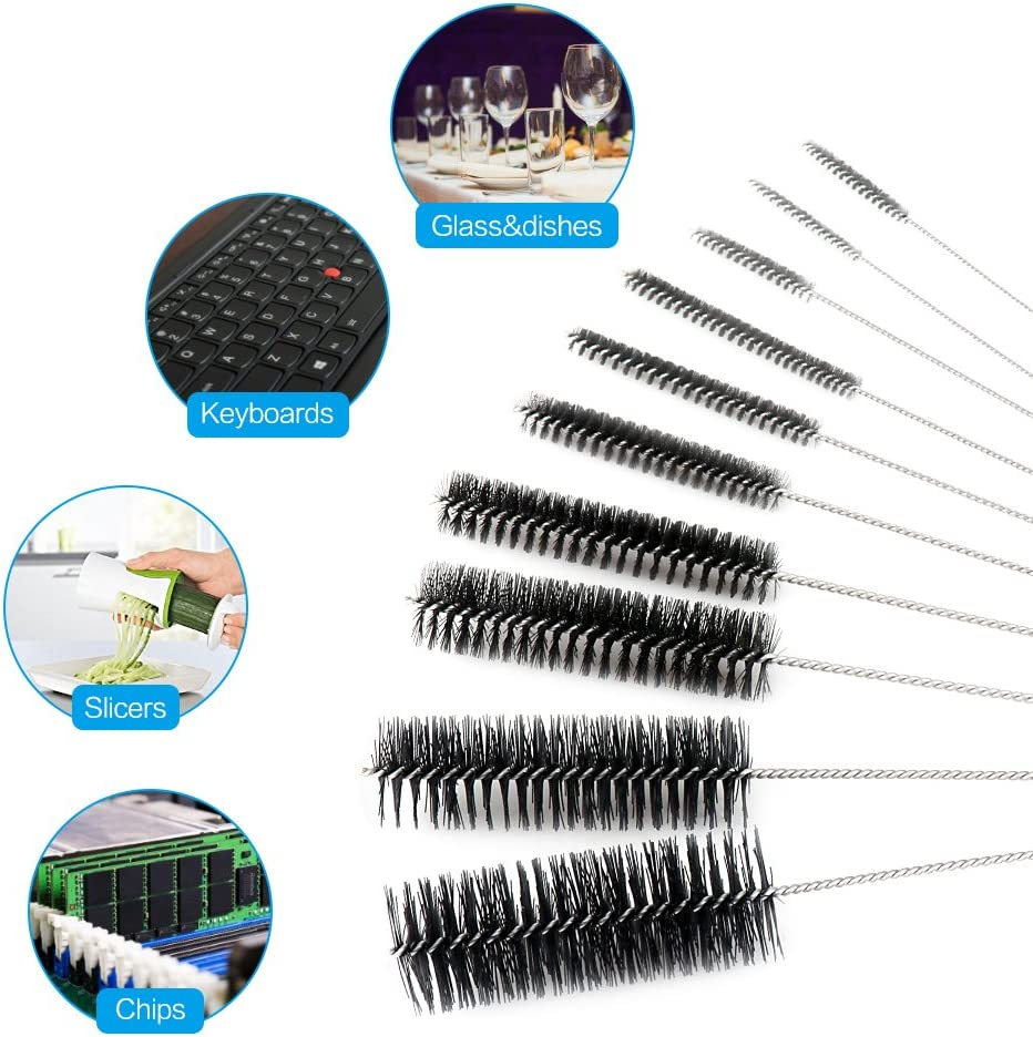 Nylon Brush set spazzola di pulizia del tubo spazzola per pulizia set di 10 10 pezzi Black Loufimidon 20,8/cm nylon bottiglia ugello