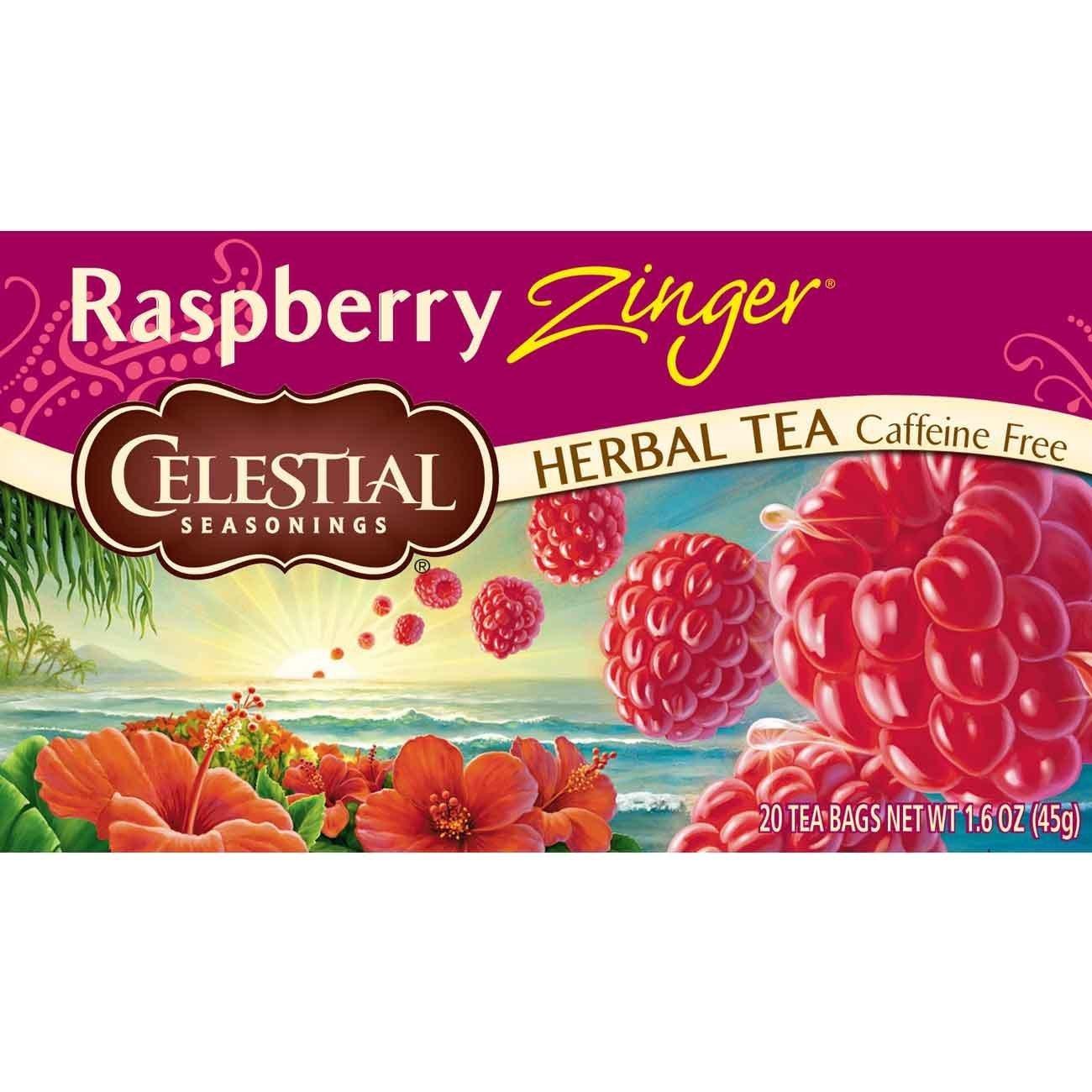 Celestial Seasonings Herbal Tea, Raspberry Zinger, 20 Count (Pack of 6)