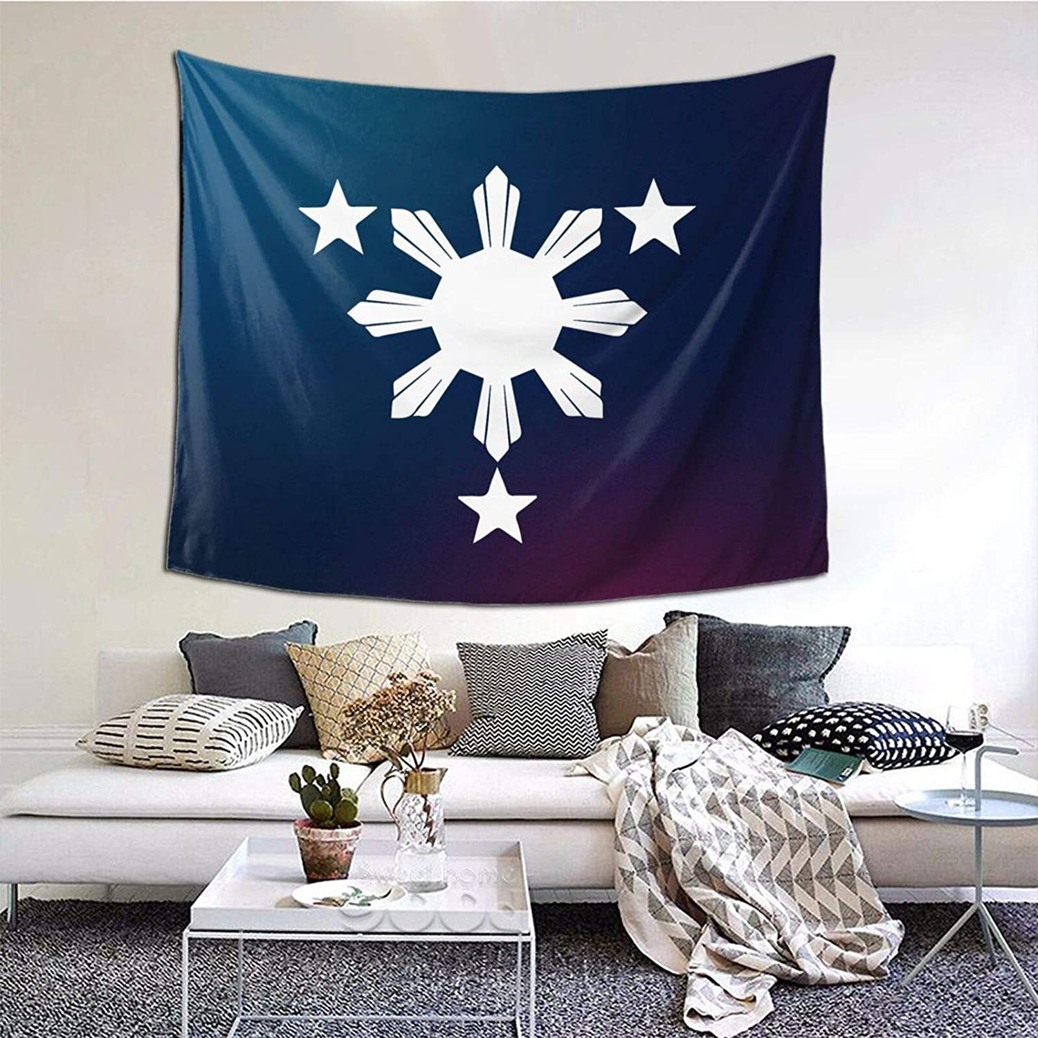 Bedroom 3 Stars And Sun Filipino Philippines Art Wall Hanging 60 X 51 Inches Wall Blanket Tapestry Indoor Tapestries