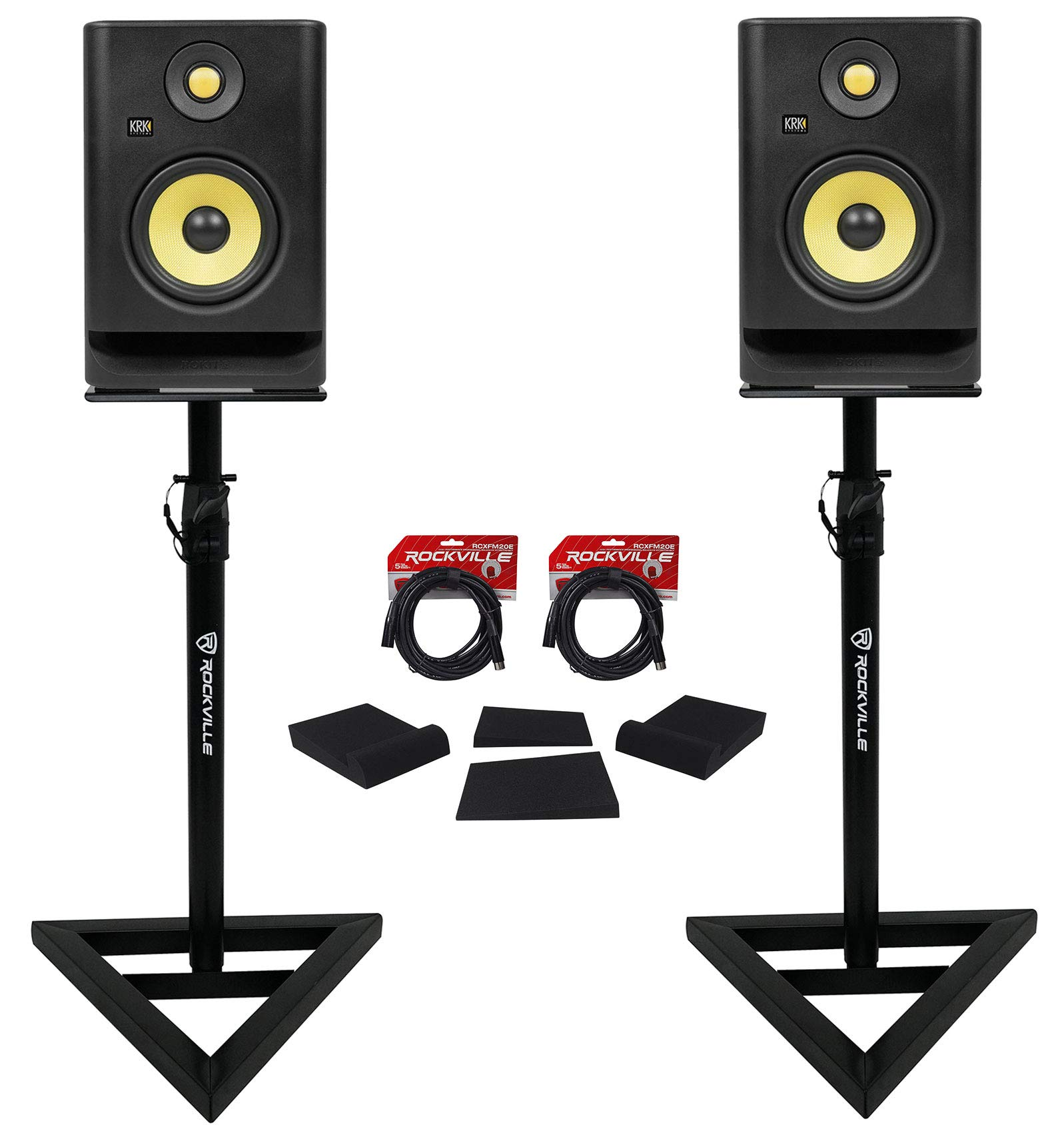 (2) KRK RP5-G4 Rokit Powered 5'' Powered Studio Monitors+Stands+Isolation Pads