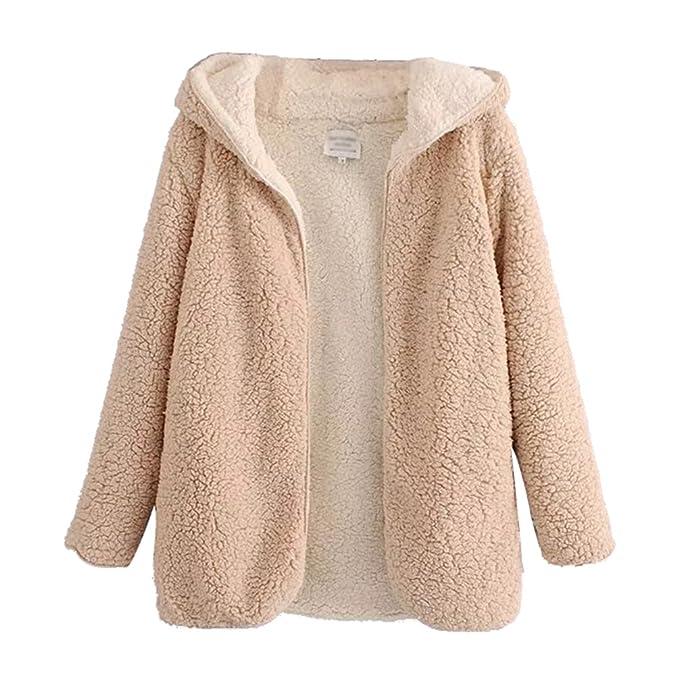 ZKOO Abrigo de Mujer Fleece Chaqueta con Capucha Espesar Suelto Prendas de Abrigo Cardigan Parkas Calentar: Amazon.es: Ropa y accesorios