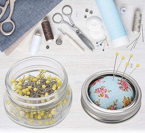 coj/ín para alfileres de Costura con Botella de Vidrio Kit de Costura DIY con Soporte para alfileres de Cabeza Grande y Perla Redonda